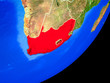 canvas print picture - South Africa on planet Earth with country borders and highly detailed planet surface.