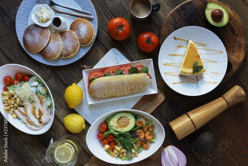 Spoed Foto op Canvas Dessert breakfast flat lay horizontal
