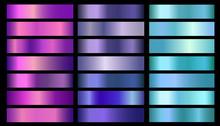 Pink, Purple, Violet, Blue, Aquamarine Metallic Foil Texture Vector Gradients Set