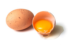 Closeup Of Two Organic Eggs On White Background