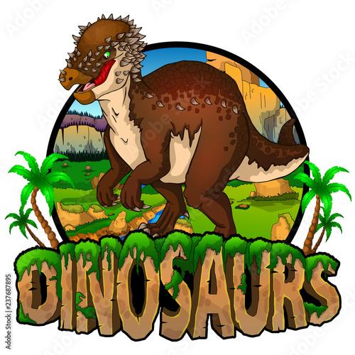 Logo Dinosaurs World with Pachy. Ilustracji wektorowych.