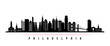 Philadelphia city skyline horizontal banner. Black and white silhouette of Philadelphia city, Netherlands. Vector template for your design.