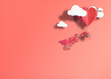 Illustration For Valentine's Day. Living Heart Shaped Balloons Living Coral Fly Among The Clouds And Praise Love. Concept Of Love Peace And Happiness.