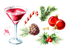 Red Christmas Martini Cocktail...