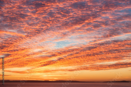 Dramatic Sunrise Mackeral Sky with Cirrocumulus Clouds Canvas Print