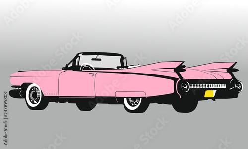 Fotografie, Obraz Cadillac Eldorado Cuba - grafika wektorowy