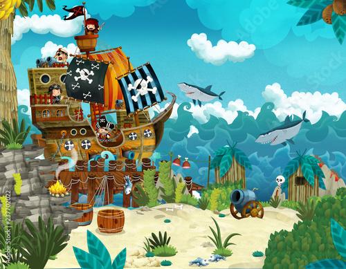 Fototapeta Cartoon illustration - pirates on the wild island - illustration for the childre