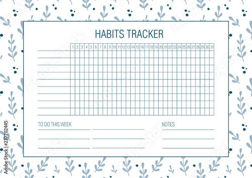 Photo  Habit tracker blank with Hand drawn floral texture
