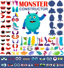 Make a monster icons set, with eyes, mouth, ears and horns, paws, wings and hand body parts. Vector illustration