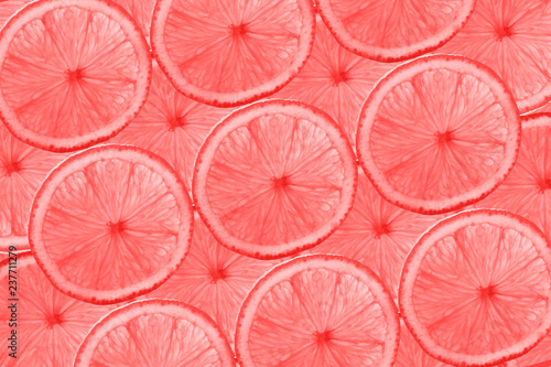 Obrazy wieloczęściowe Living Coral color of the Year 2019 pattern of grapefruit slices abstract background