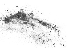 Black Charcoal Dust, Gunpowder Explosion Isolated On White Background And Texture, Top View