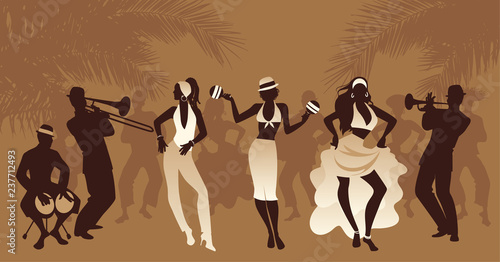 Fototapety Taniec salsa-party-time-group-of-three-girls-dancing-latin-music-and-three-musician-playing-bongos-trumpet-and-trombone-people-and-palm-trees-on-the-background