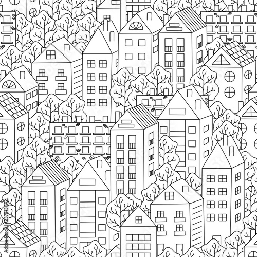 miasteczka-i-drzewa-bezszwowe-tlo-recznie-rysowane-czarno-bialy-wzor-wektor