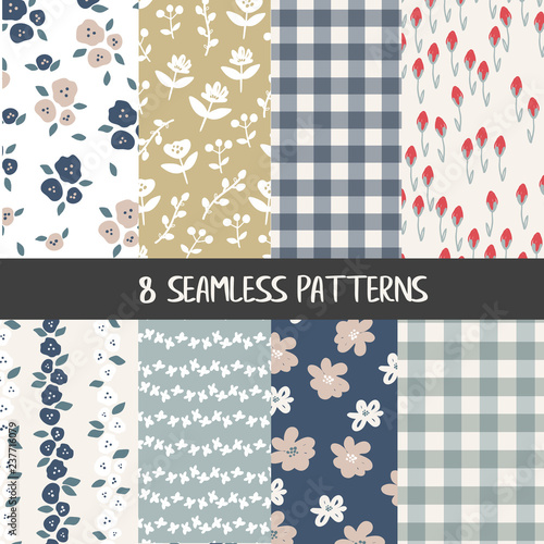 Canvas Print Set of natural farmhouse style seamless patterns for kitchenware and homeware, f