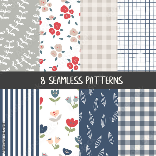 Valokuva Set of natural farmhouse style seamless patterns for kitchenware and homeware, f