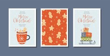 Set Of Christmas And Happy New Year Greeting Cards With Hand Drawn Decorative Elements. Trendy Vintage Style.