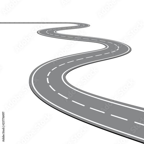 Creative vector illustration of winding curved road Fototapeta