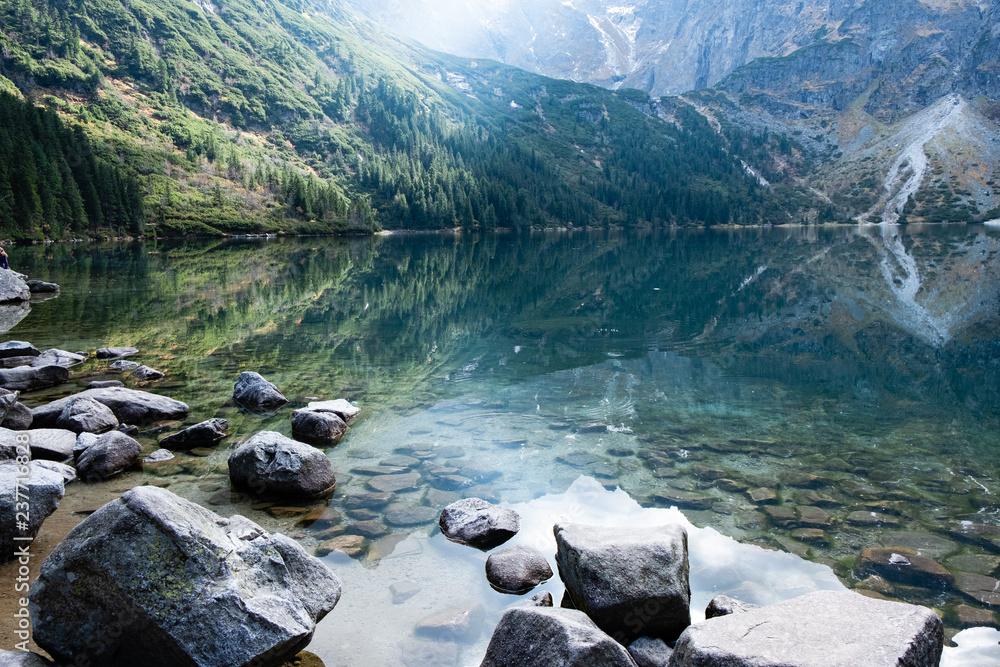 Fototapety, obrazy: Mountain lake Morskie Oko in Tatra Mountains, Poland