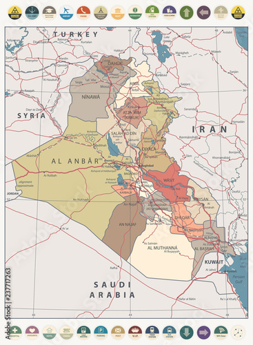 Photo  Iraq Map Vintage Color Map and round flat icons