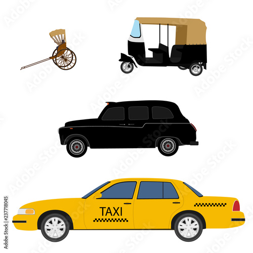 Cuadros en Lienzo Taxi cab icon set:  yellow taxi, London cab, hand pulled rickshaw and indian tuk-tuk