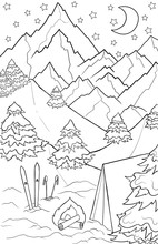 New Year And Christmas Theme. Black And White Graphic Doodle Hand Drawn Sketch For Adult Coloring Book. Winter Landscape With Mountains, Pines, Trees, Snow, Ski And Tent.