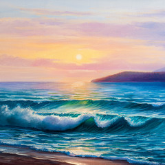 Fototapeta Morze Sunset on the sea, painting by oil on canvas.