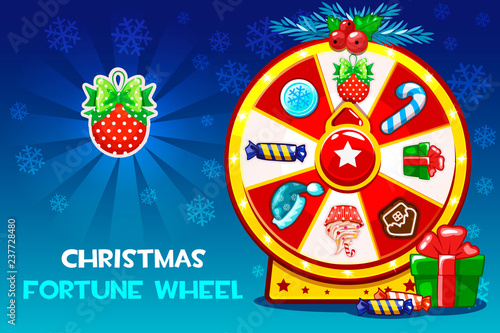 Stampa su Tela Cartoon Christmas lucky roulette, spinning fortune wheel