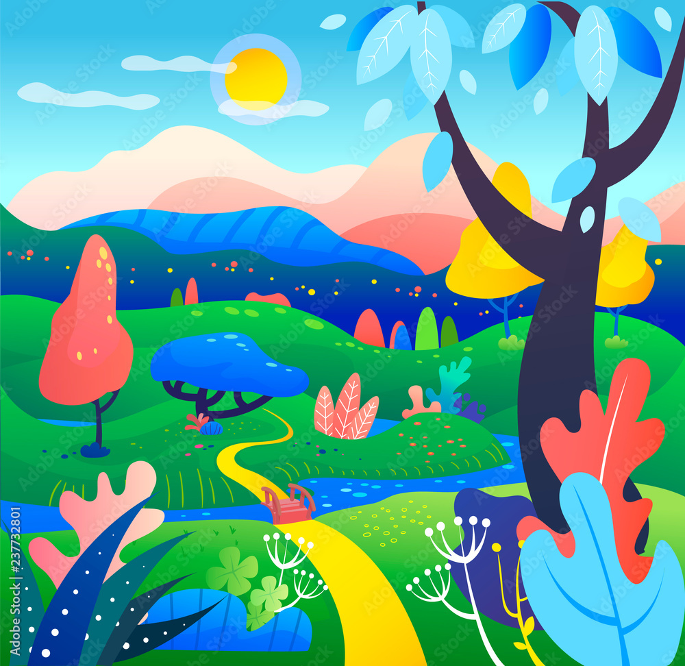 Vector illustration in simple modern style - nature with hills and trees, mountains