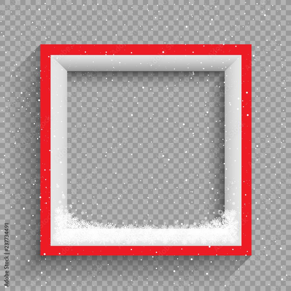Fototapety, obrazy: snowfalls on red and white frame