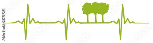 Obraz na plátně Tree heartbeat #isoliert #vektor - Baum Herzschlag