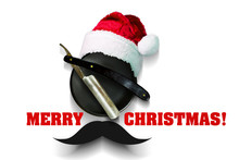 Razor On A Plate For Foam With A Santa Claus Hat On A White Background. Inscription Merry Christmas. Greeting Card Happy New Year And Merry Christmas For A Hairdresser And Barber Shop.