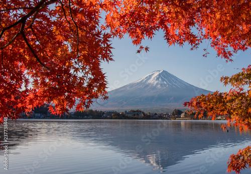 Canvas Prints Cuban Red Mount Fuji, Autumn in Mt. Fuji, Japan - Lake Kawaguchiko , Colorful Autumn Season and Mountain Fuji with morning sunrise and red leaves at lake Kawaguchiko, Japan.