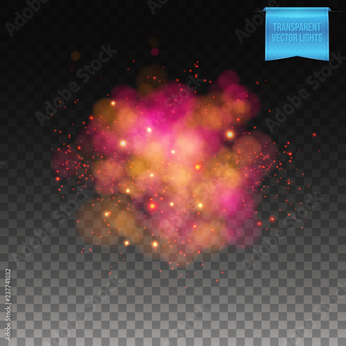 Photo Vector illustration of Puffy red burst on transparent background