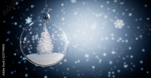 Fototapeta  Glaskugel - Weihnachtskugel mit Kristallbaum
