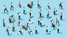 Conceptual Image Of Business Processes With Businessman And Businesswoman. Flat Isometric View. The Human Resources, Communication, Internet, Teamwork Concept. Miniature People. Collage