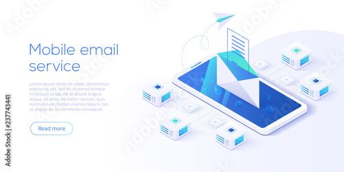 Obraz na płótnie Email service isometric vector illustration