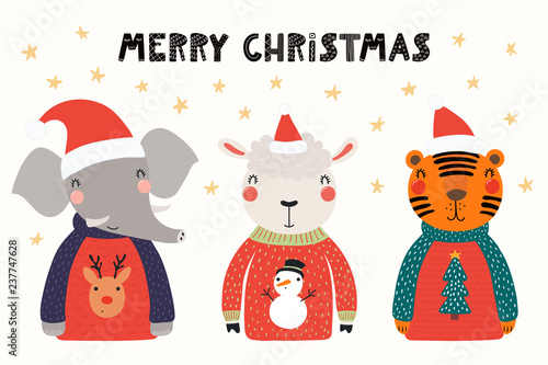 Printed kitchen splashbacks Illustrations Hand drawn vector illustration of cute animals, elephant, sheep, tiger, in Santa hats, sweaters, with text. Isolated objects on white. Scandinavian style flat design. Concept Christmas card, invite.