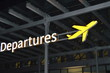 Information about the departure zone, signpost of the aircraft at the airport at night, the concept of travel