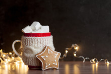 Dark Christmas Mock-up With Cup Of Hot Cocoa