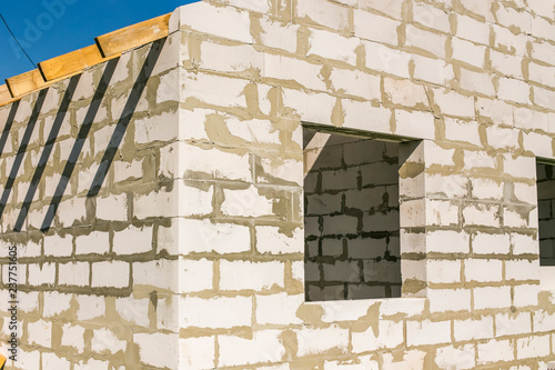 Wooden Roof Structure And Aerated Concrete Brick Wall Of A New