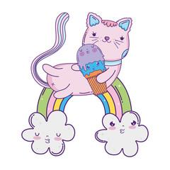 Obraz na płótnie Canvas cute cat with ice cream in rainbow