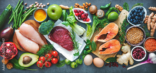 Foto op Canvas Eten Balanced diet food background