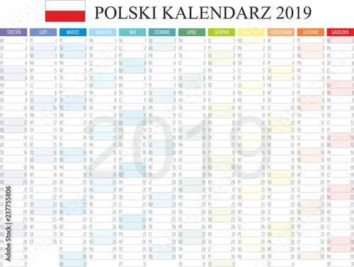 image regarding Monthly Planning Calendar identify Polish Calendar 2019, Kalendarz polski 2019, month-to-month