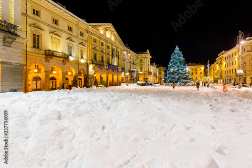 View of Chanoux square at Christmas time, in center of Aosta, Italy, Canvas Print