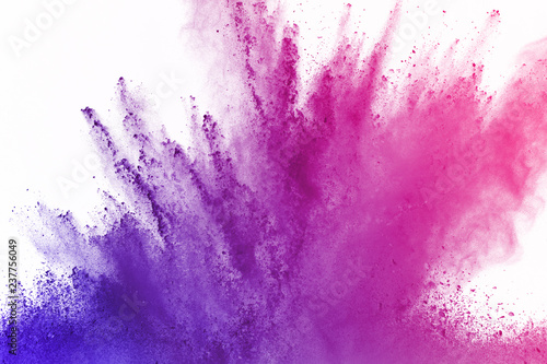 abstract powder splatted background. Colorful powder explosion on white background. Colored cloud. Colorful dust explode. Paint Holi. - 237756049