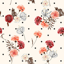Beautiful Trendy And Softy Blooming Carnation Flowers Seamless Pattern Vector On Pollka Dots On Summer Light Pink Background For Fashion Fabric