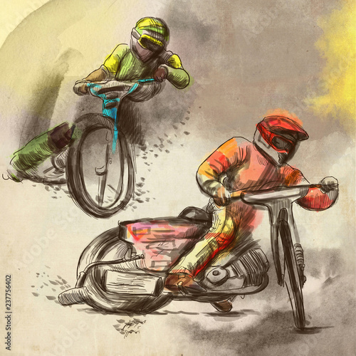 Cuadros en Lienzo  Speedway, motorcycle races - An hand drawn illustration