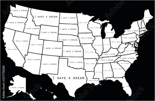 I have a dream note written on each USA state Poster Mural XXL