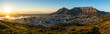 canvas print picture - Rare cloudless view on capetown and the table mountain while sunrise.