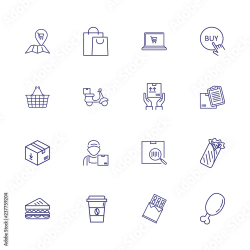 Online food shopping line icon set  Delivery, paper bag